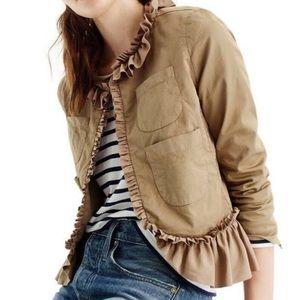 J Crew ruffle chino blazer jacket blogger fav